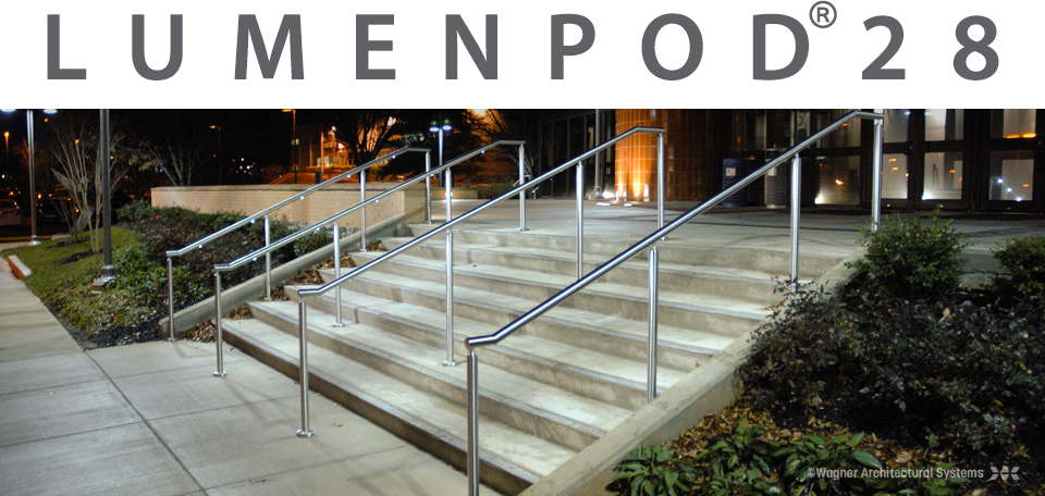 stairway with lumenpod 28 led handrail